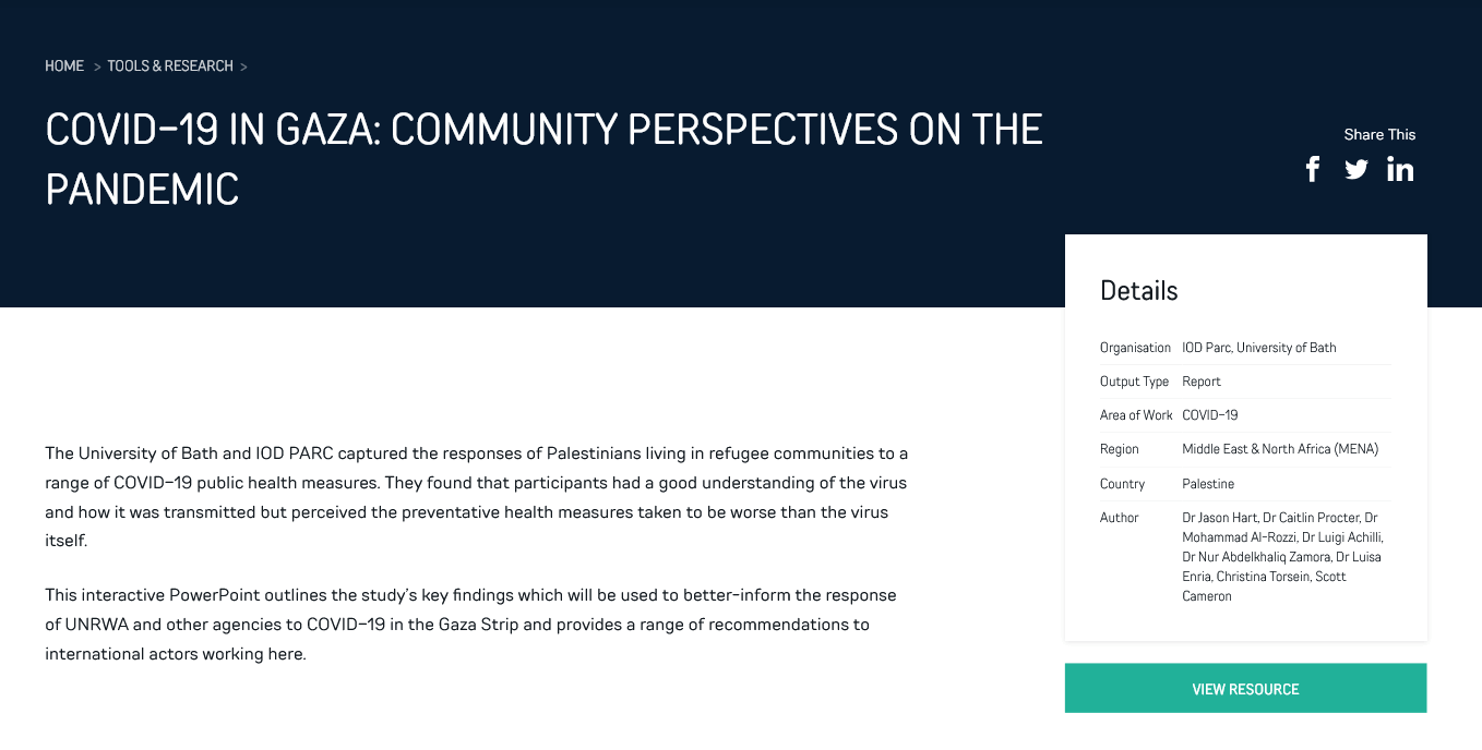 COVID-19 in Gaza: Community perspectives on the pandemic