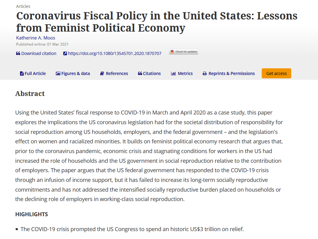 Coronavirus fiscal policy in the United States: Lessons from feminist political economy