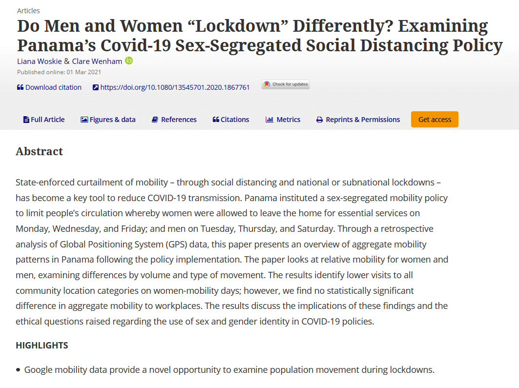 """Do men and women """"lockdown"""" differently? Examining Panama's Covid-19 sex-segregated social distancing policy"""