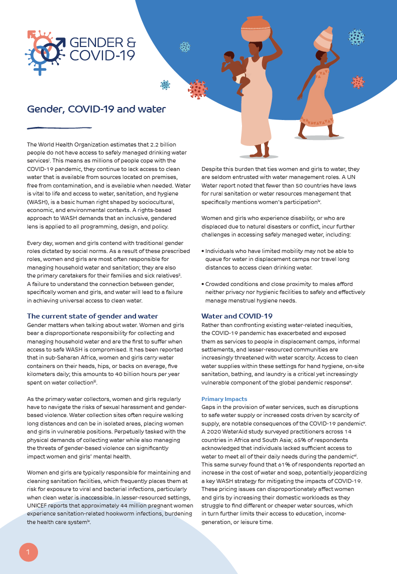 Gender COVID-19 and water