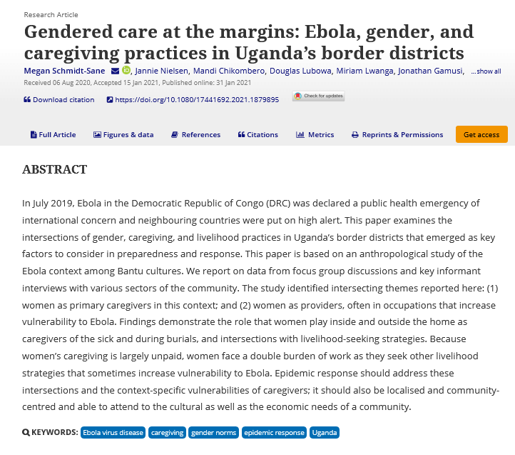 Gendered care at the margins - Ebola, gender, and caregiving practices in Uganda%u2019s border districts