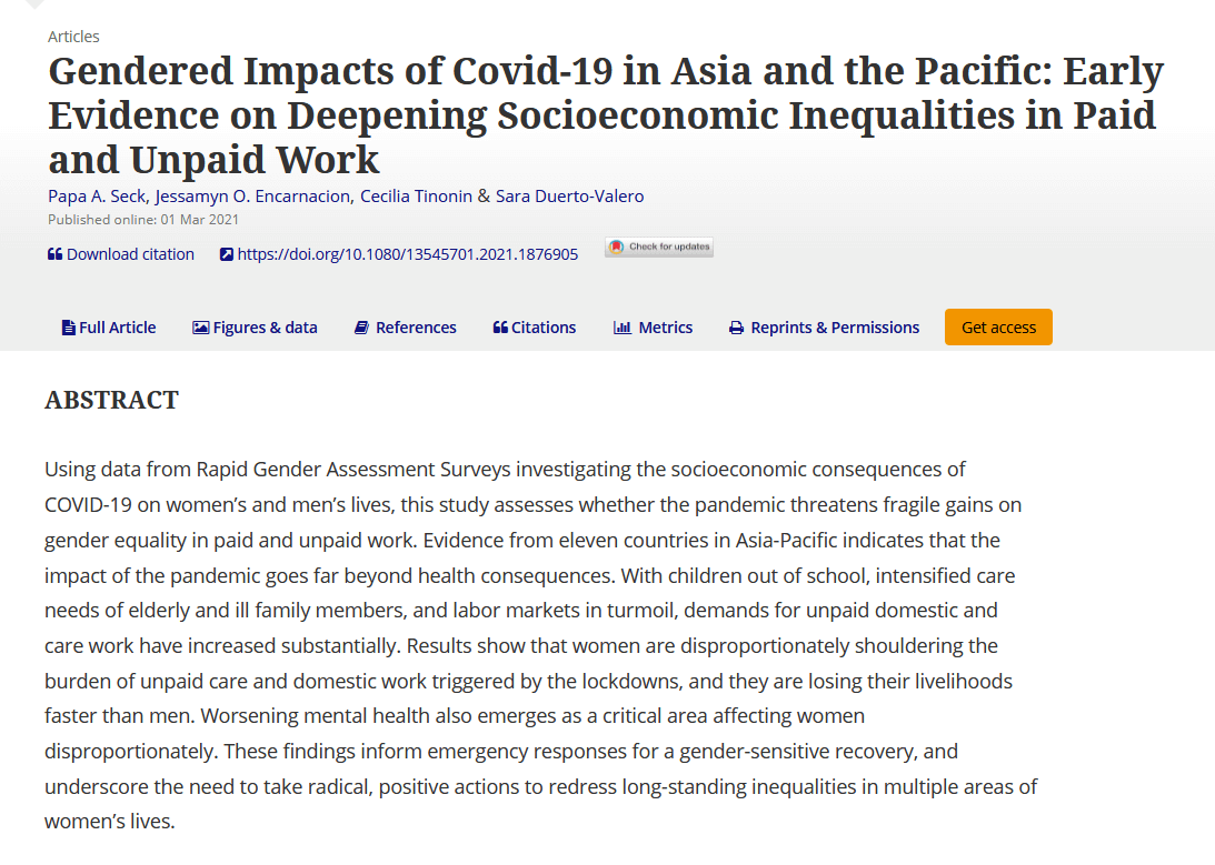 Gendered impacts of COVID-19 in Asia and the Pacific