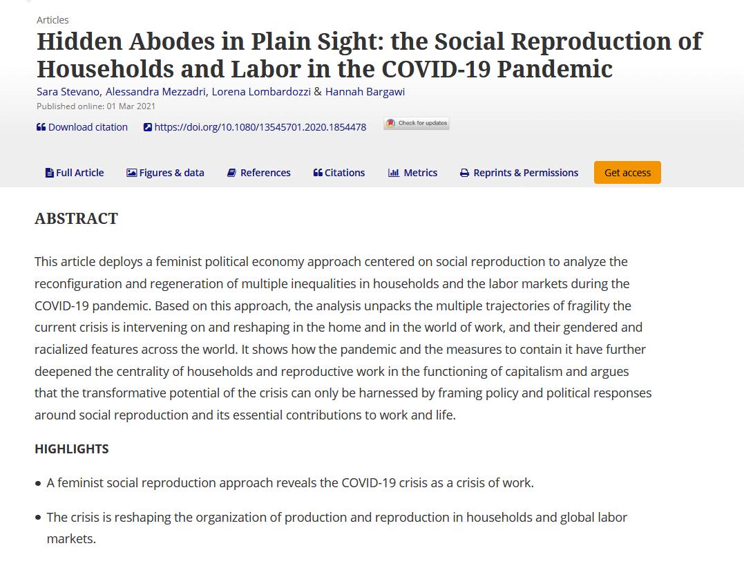 Hidden abodes in plain sight: The social reproduction of households and labor in the COVID-19 pandemic