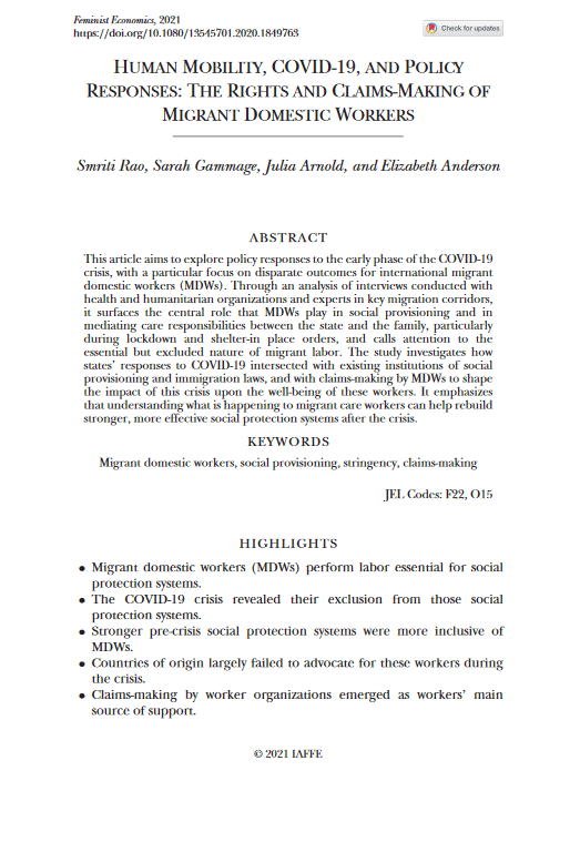 Human mobility, COVID-19, and policy responses - The rights and claims-making of migrant domestic workers
