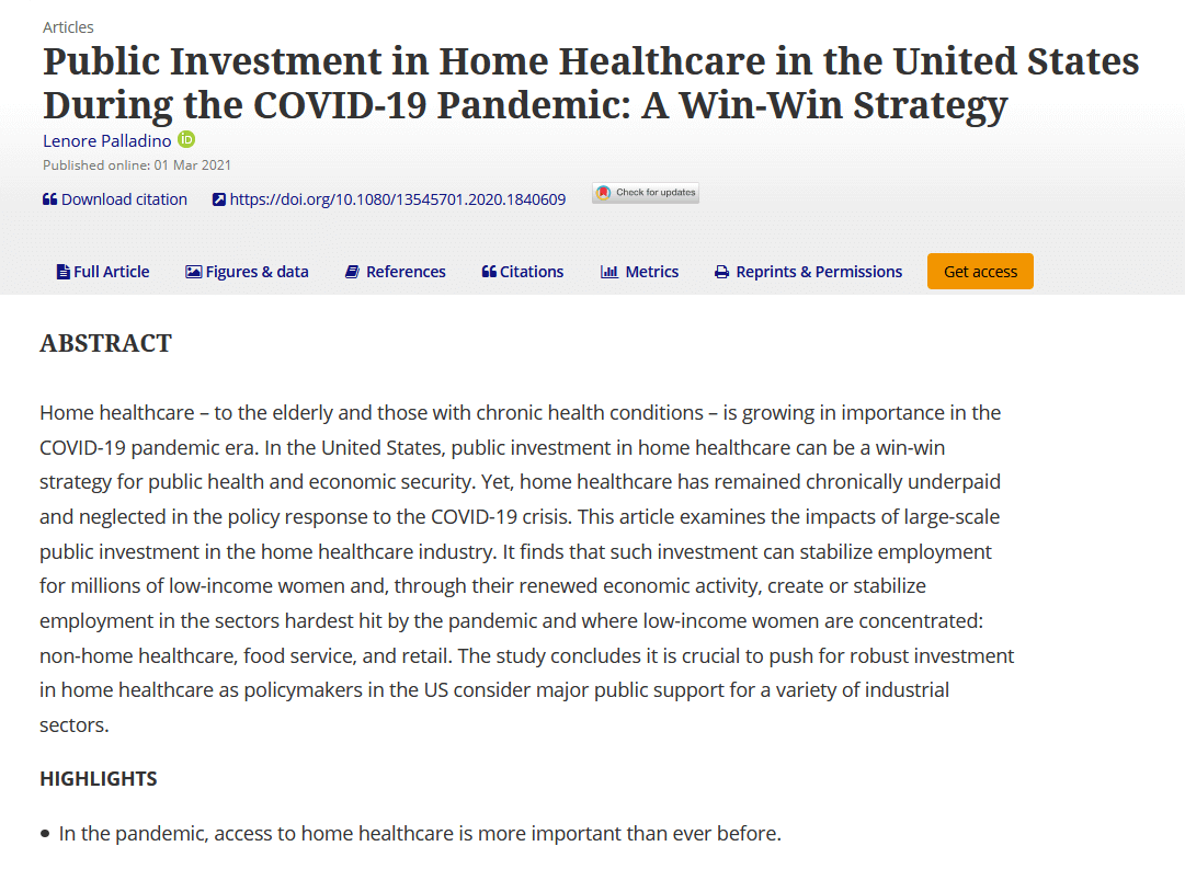 Public investment in home healthcare in the United States during the COVID-19 pandemic: A win–win strategy