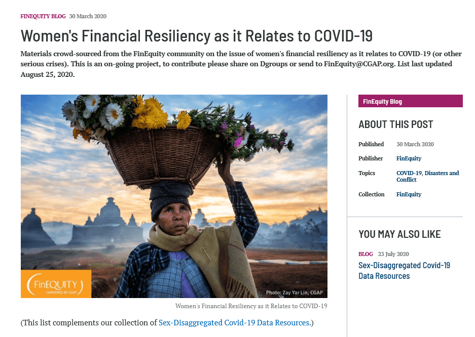 Women's Financial Resiliency as it Relates to COVID-19