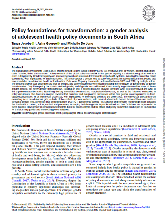 Policy foundations for transformation