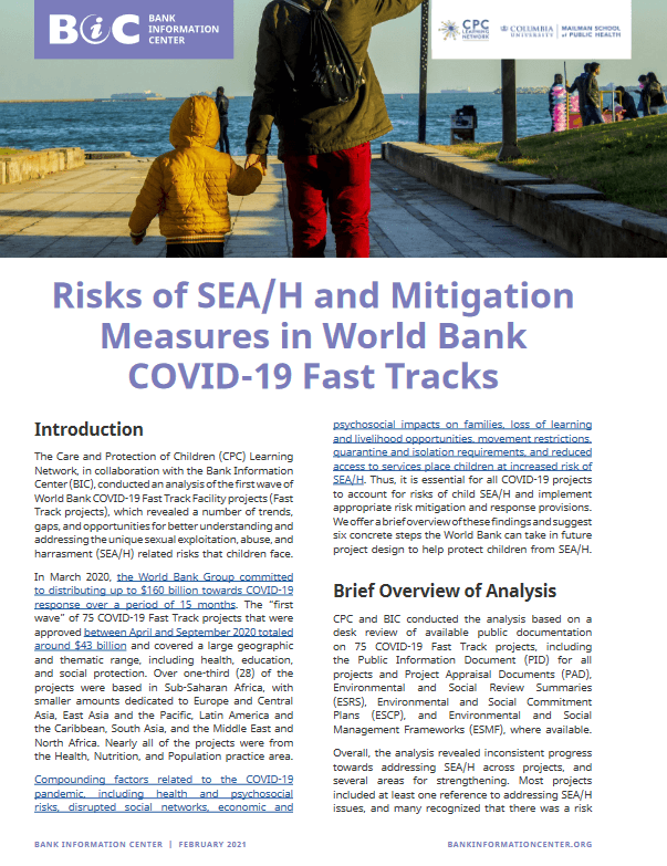 Risk of SEAH and Mitigation Matters in World Bank COVID Fast Track Projects