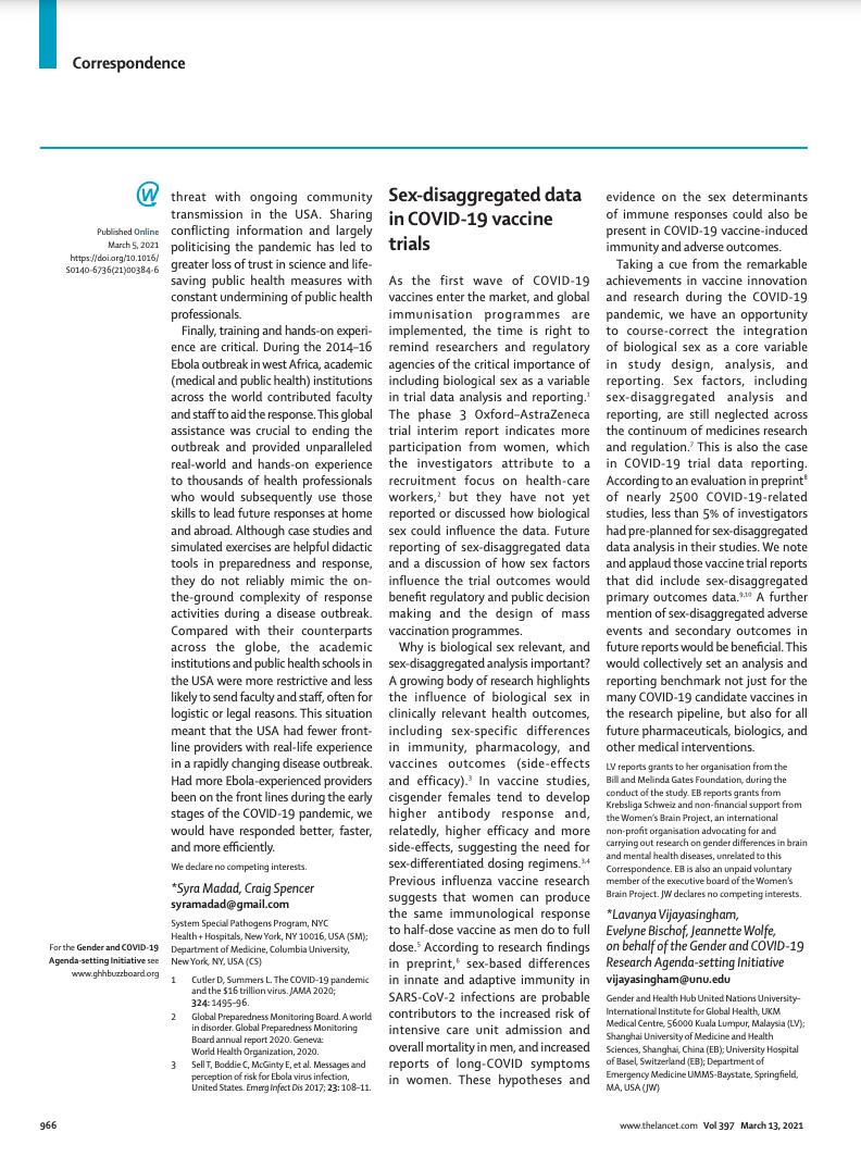 Sex-disaggregated data in COVID-19 vaccine trials