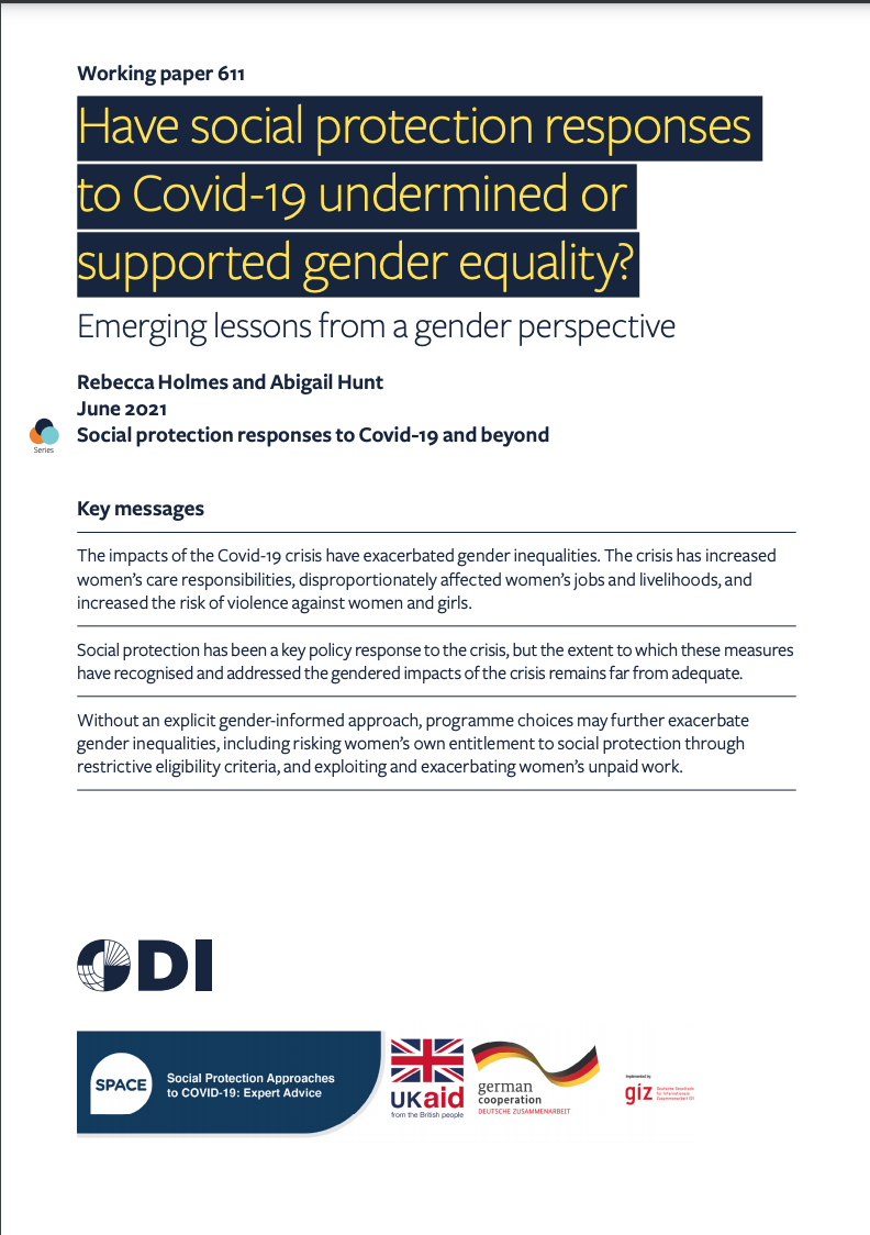 Have social protection responses to Covid-19 undermined or supported gender equality?Emerging lessons from a gender perspective