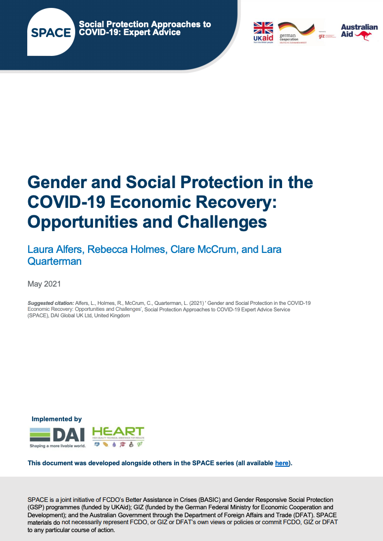 Gender and Social Protection in the COVID-19 Economic Recovery: Opportunities and Challenges