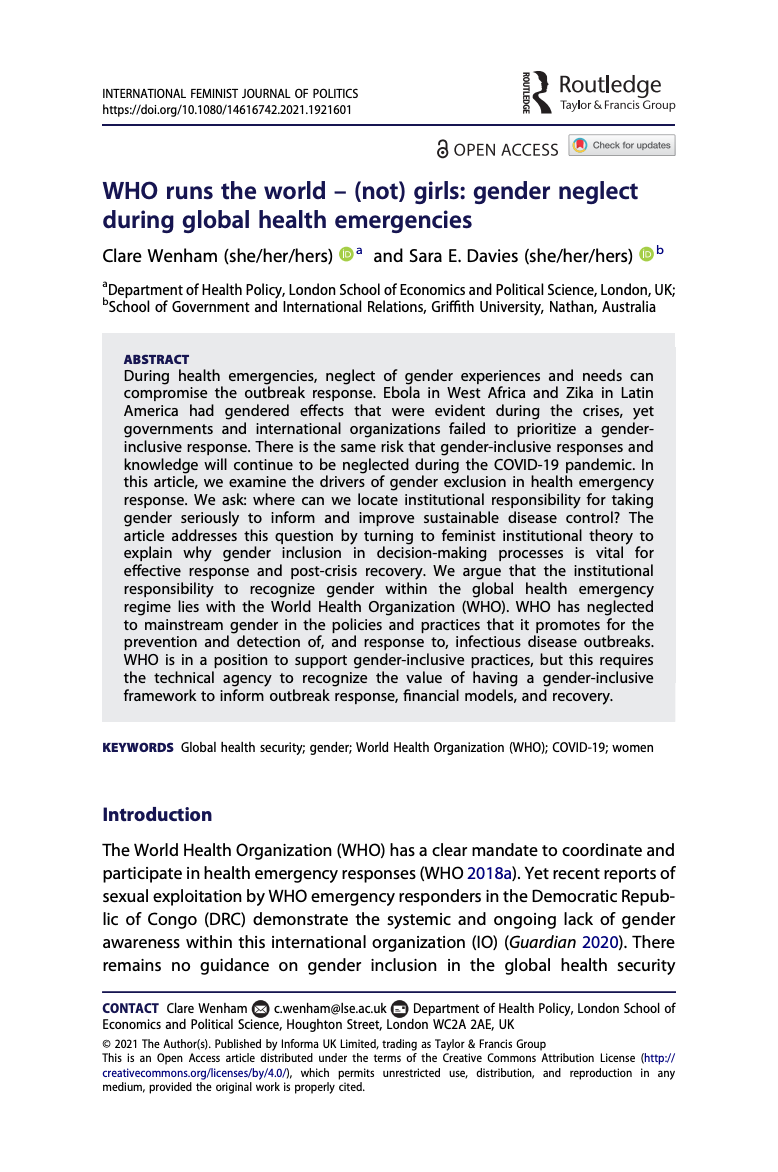 WHO runs the world – (not) girls - gender neglect during global health emergencies