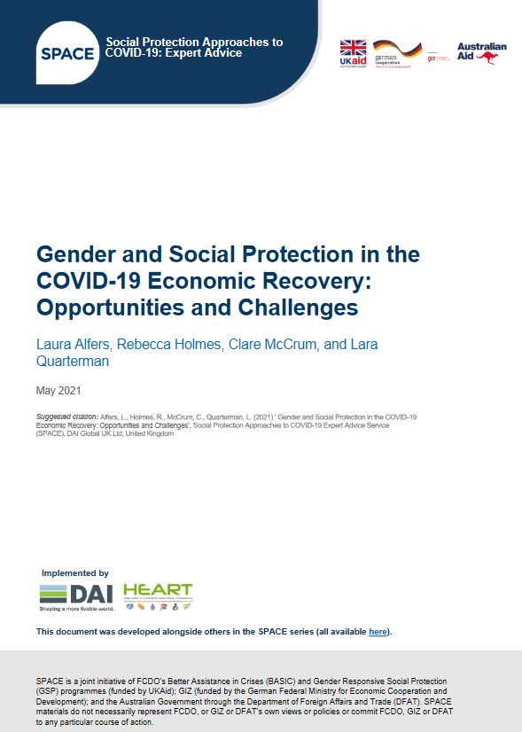 Gender and Social Protection in the COVID_19 Economic Recovery
