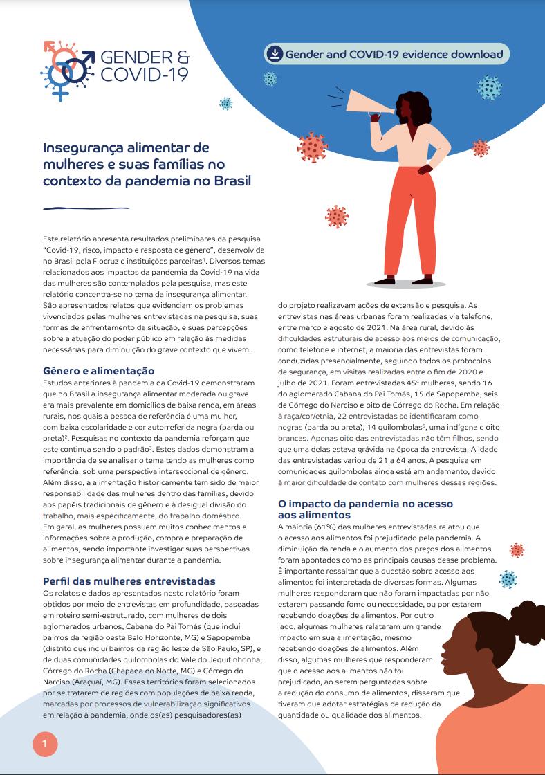 Insegurança alimentar de mulheres e suas famílias no contexto da pandemia no Brasil